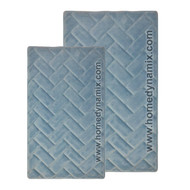 Blue Memory Foam Bath Mat/rug : Brick Design, Spa Soft Microfiber, Non Skid Backing