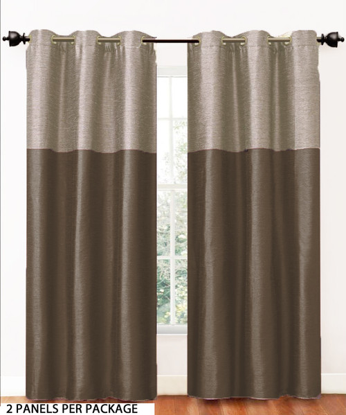 Chocolate Brown 2 Panel Fabric Window Curtain Set Metal Grommets Bathroom And More