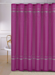 Pink Faux Silk Fabric Shower Curtain: Silver Ribbon, Cascading Hologram Sequins