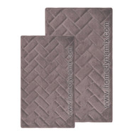 Dusty Mauve Memory Foam Bath Mat/rug: Brick Design, Microfiber, Non Skid Backing