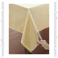 Clear Vinyl Tablecloth Protectors, White Hemmed Border, Several Sizes Available
