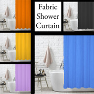 Fabric Shower Curtain Liner with Metal Grommets - Black, Blue, Yellow, Orange, Lilac