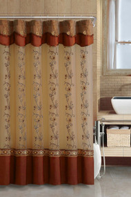 Cinnamon Two-Layered Embroidered Fabric Shower Curtain with Attached Valance