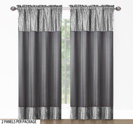"2 Panel Fabric Window Curtain Set. Total Size: 80"" (203cm) Wide x 84"" (213cm) Long-Charcoal"