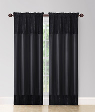"2 Panel Fabric Window Curtain Set. Total Size: 80"" (203cm) Wide x 84"" (213cm) Long-Black"