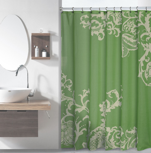 Sage Green Luxury Fabric Shower Curtain with Light Green Floral ...