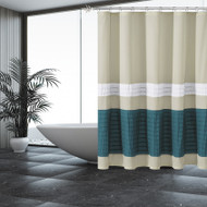 Beige Shower Curtain with Pleated Blue and White Pintuck Stripes
