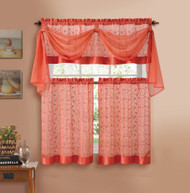 Orange Embroidered Kitchen Window Curtain Set- 1 Valance with Voile Scarf, 2 Tiers