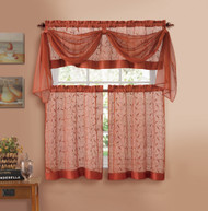 Cinnamon Embroidered Kitchen Window Curtain Set- 1 Valance with Voile Scarf, 2 Tiers