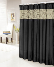 "Black Faux Silk Shower Curtain with 14"" Textured and Circle Patterned Taupe Stripe"