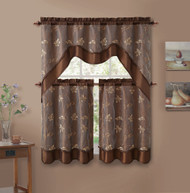 3 Piece Chocolate Brown Double Layer Leaf Embroidered Kitchen Window Curtain Set with Valance