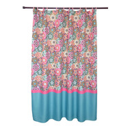 Waffle Texture Folk Multi-Colored Bright Floral Pattern Shower Curtain