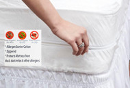 Stain Resistant Zippered 100% Cotton Mattress Protector with Allergen Protector and Bedbug Blocker