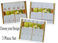 3 PC Sheer Kitchen Window Curtain Set Embroidered Chef, Apple, or Coffee Design