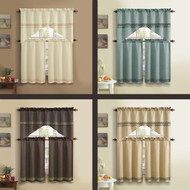 3 PC BELLAMY Kitchen Curtain Set With Embroidery