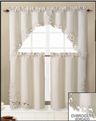 3 Piece Doily Floral Embroidered Kitchen Window Curtain Set
