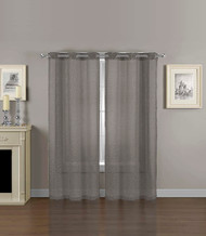 "2 Gray Window Curtain Sheer Panels with Grommets and Mosaic Design 80""x84"" Total Size"