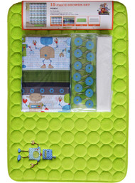 Lime Kids Robot Theme Bathroom Set with Matching Non-Skid Bath Mat, Shower Curtain, Resin Hooks, and Liner