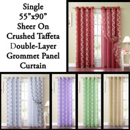 Single Sheer and Crushed Taffeta Double-Layer Window Panel Curtain with Swirl Design and Silver Grommets