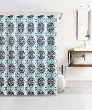 Blue, Gray, and Charcoal Kaleidoscope Bath Set Design Waffle Fabric Shower Curtain with 12 Silver Rollerball Hooks