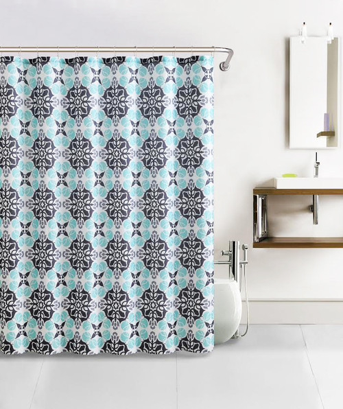 Blue Gray And Charcoal Kaleidoscope Bath Set Design