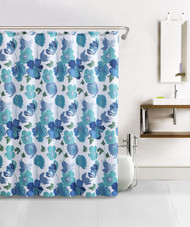 Teal, Blue and White Paint-Like Floral Bath Set Design Waffle Fabric Shower Curtain with 12 Silver Rollerball Hooks