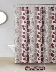 14 PC Waffle Fabric Shower Curtain Rust and Taupe Stems and Leaves Pattern Over Ivory Background Bath Set with Matching Bathroom Mat and 12 Silver Rollerball Hooks
