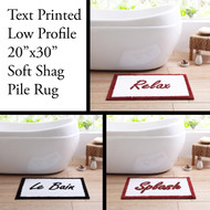 "Low Pile 20""x30"" Text Printed Bath Rug with Non-Slip Backing (Le Bain, Splash, Relax)"