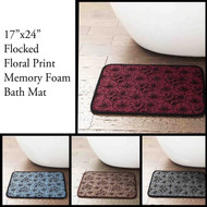 "Memory Foam Bath Mat/area Rug with Flocked Floral Pattern: 17"" X 24"", Non-skid Backing (Silver/Gray, Brown, Light Blue, Red)"