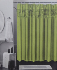 Solid Color Fabric Shower Curtain with 3D Design Circle Pattern Band - Green