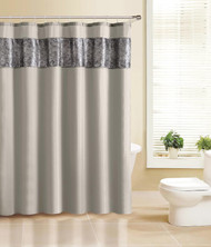 Fabric Shower Curtain with Faux Crocodile Skin Accent Set with 12 Silver Rollerball Hooks-Taupe