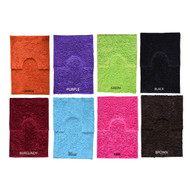 2-pc Chenille Noodle Bath Mat and Pedestal Rug Set: Non-Skid Backing, High Pile, Absorbant