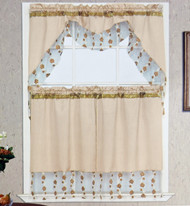 3 Piece Kitchen Window Set with Florally Embroidered Sheer Banners: 1 Valance and 2 Tier Panel Curtains- Beige