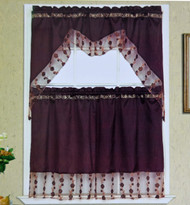 3 Piece Kitchen Window Set with Florally Embroidered Sheer Banners: 1 Valance and 2 Tier Panel Curtains- Brown