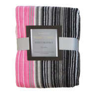 Printed Plush Fleece Throw Blanket: 50in x 60in Black, White and Pink Stripe