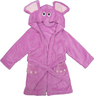 Kids Hooded Animal Bath Robe  Size: 4T - 6T - Lilac Elephant