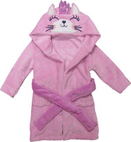 Kids Hooded Animal Bath Robe  Size: 4T - 6T - Pink Princess Kitty