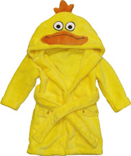 Kids Hooded Animal Bath Robe  Size: 4T - 6T - Yellow Ducky