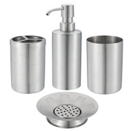 Etching Stainless Steel Bath Set of 4 : Soap Dispenser & Dish, Toothbrush Holder, Tumbler