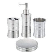 Ribbed Stainless Steel Bath Set of 4: Soap Dispenser & Dish, Toothbrush Holder, Tumbler