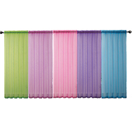 One (1) Striped sheer window curtain panel : 55 X 90in, Hot Vibrant Colors