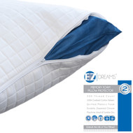 EZ Dreams Quilted Memory Foam Pillow Protector: 100% Cotton Sateen, Zippered, King
