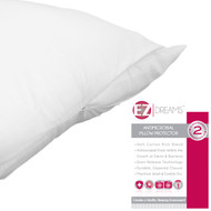 EZ Dreams Queen Size Antimicrobial Pillow Protector: Stain Release, Cotton Rich Poly Blend, Zippered
