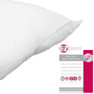 EZ Dreams Antistatic Zippered Pillow Protector: Satin Touch Microfiber, Queen Size