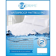 EZ Dreams Hypo-Allergenic Waterproof Mattress Pad: Soft Microfiber Fabric, High Loft Fiber Fill