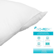 300 Thread Count ISO-PEDIC Zippered Pillow Protector: Queen Size, 100% Cotton Sateen