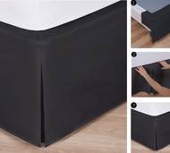 "Easy-to-Use Wraparound Bed skirt: Tailored, Split Corner Design, Non-Slip Band. 14"" Drop, Black"