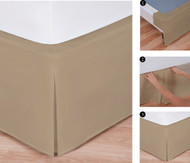 "Easy-to-Use Wraparound Bed skirt: Tailored, Split Corner Design, Non-Slip Band. 14"" Drop, Mocha Color"
