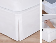 "Easy-to-Use Wraparound Bed skirt: Tailored, Split Corner Design, Non-Slip Band. 14"" Drop, White Color"