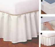 "Ruffled Easy-to-Use Wraparound Bed skirt: Split Corner Design, Non-Slip Band. 14"" Drop, Ivory Color"